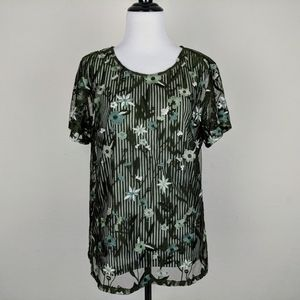 Christopher & Banks Striped Embroidered Floral Top